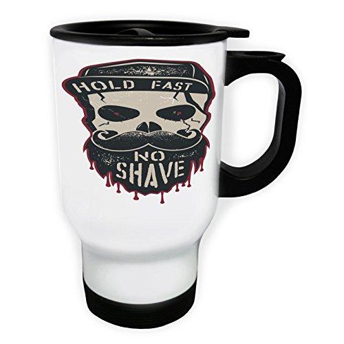 Rasage barbe crâne crâne mystère moustache Tasse de voyage thermique blanche 14oz 400ml dd324tw