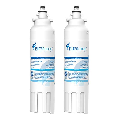 Filterlogic ADQ73613401 Refrigerator Water Filter, Replacement for LG LT800P, ADQ73613402, Kenmore 9490, 469490, 46-9490, LSXS26326S, LMXC23746S, LMXC23746D, LSXS26366S (Pack of 2)