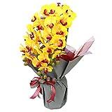 山久 造花 優雅で高貴な 胡蝶蘭 鉢植 三本立 イエロー 0704-2039-yl CT触媒加工 シルクフラワー