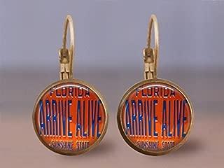 Vintage Arrive Alive Leverback Earrings- 16mm