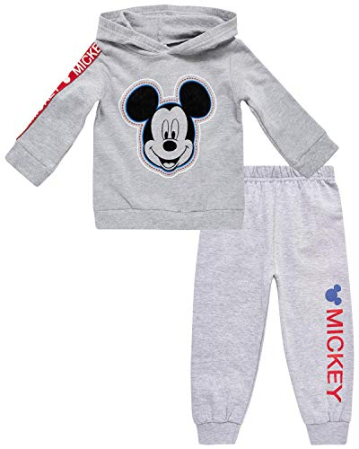 Disney Baby Boys' Mickey Mouse Hoodie Fleece & Jogger 2-Piece Pant Set (Newborn/Infant), Mickey Light Grey, 18 Months