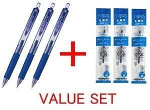 Uni-ball Signo RT Rubber Grip & Click Retractable Ultra Micro Point Gel Pens -0.38mm- Blue Ink-3 Pens & 3 Pens Refills - Value Set