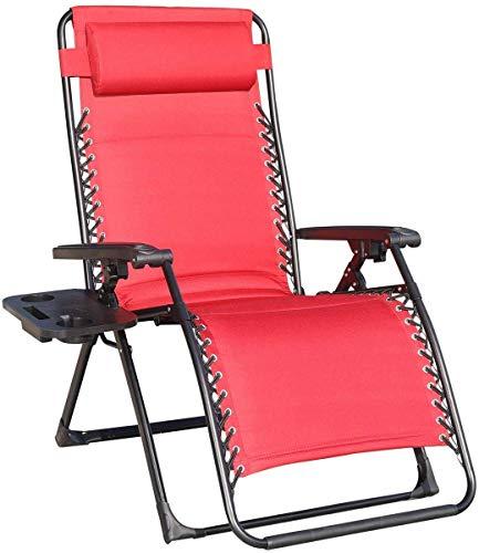 Alvnd Sillón de SunLounger de la gravedad cero, sillones reclinables ajustables plegables con taza de taza de servicio pesado Tumbonas al aire libre Solaciones de tumbonas Oficina de almuerzo Silla pa