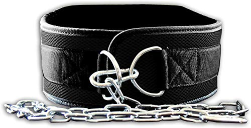 Fire Team Fit Weight Belt with Chain, Dip Belt for Weighted Pull Ups and Dips Black, Small (for Waist 40 Inches or Less)