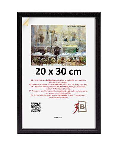 3B Marco de Fotos Jena - Negro - 20x30 cm - Marco de Madera, Foto, parojo con Vidrio de poliéster (lámina de plástico)
