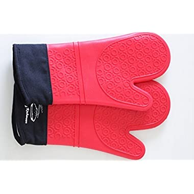 Silicone Oven Mitts: Extra Long Red Gloves, Commercial Grade, Quilted Cotton Lining-Waterproof, Hot Steam and Heat Resistant Up To 482°F-Comfortable To Wear, Easy To Clean