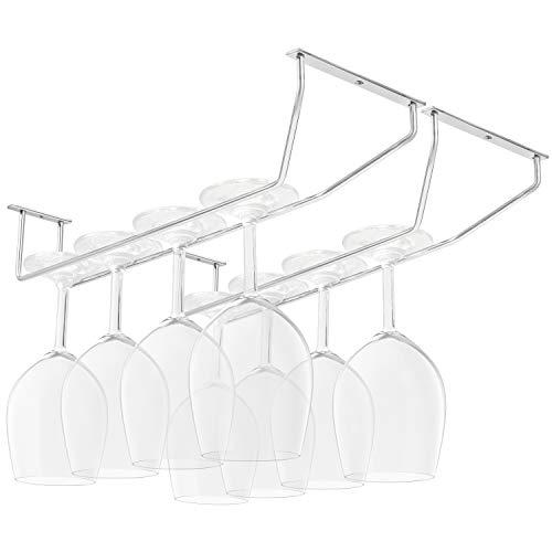 Belle Vous Soporte Copas Colgante Acero Cromado Debajo de Gabinete con Tornillos y Tacos de Pared (Pack de 4) 34 x 11 cm - Colgador Copas con Tallo – Almacenamiento para Bar y Cocina