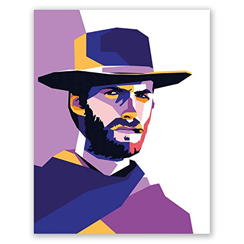 Clint Eastwood Poster - Celebrity Wall Print - Geometric Portrait - Bedroom Illustration for Him for Her (11x14)