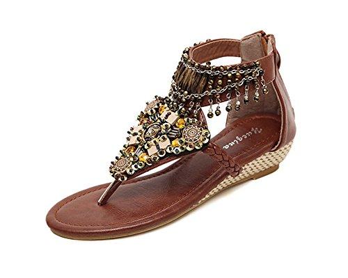 Sandalias para Mujer Zapatos con Cuña Abalorios Decorated De Bohemia de Clip del Dedo del pie Marrón 38EU