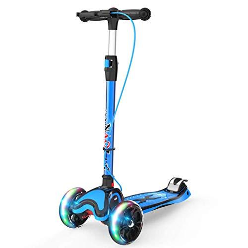 Scooter Faltbare 3-Rad-Stoß, höhenverstellbar mit Handbremse/Flash PU-Rad Farbe Pedale tragender 50kg for Kinder im Alter von 2-18 Geschenk (Color : Blue)