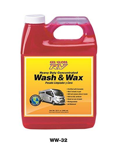 Red jug of Gel-Gloss Wash and Wax RV Shampoo.