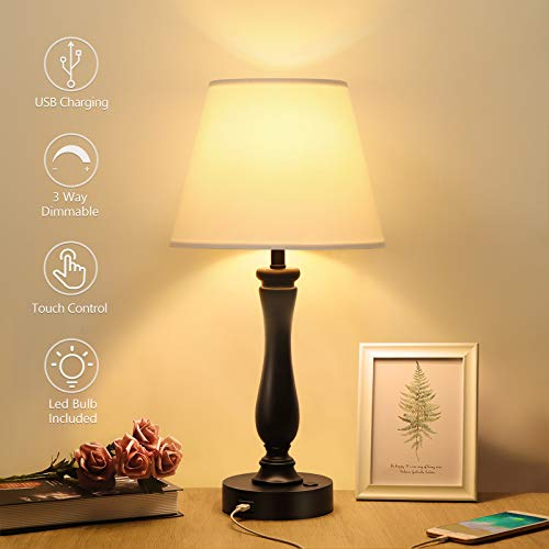 Touch Control Table Lamp Dimmable Bedside Lamp with USB Charging Port, Boncoo Nightstand Lamp Resin Table Lamp with A19 LED Bulb, Modern Desk Lamp Simple Night Light for Living Room Bedroom Guest Room