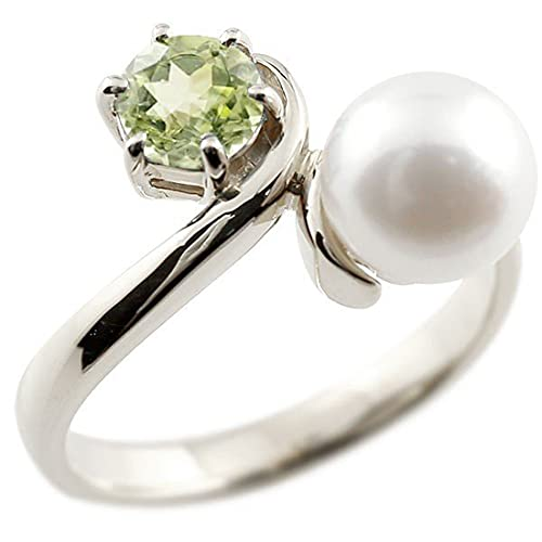 [アトラス]Atrus リング レディース sv925 スターリングシルバー ペリドット 真珠 フォーマル 指輪 ピンキーリング 宝石 8号