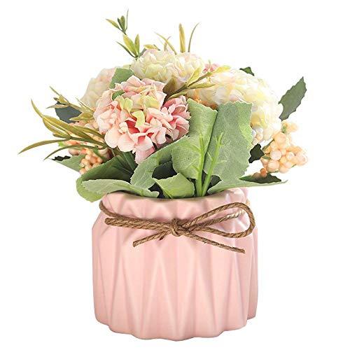 JXLB hortensias en maceta adornos en maceta falsa flor de simulación pequeña Bonsái decoración de mesa. con lavabo-rosa
