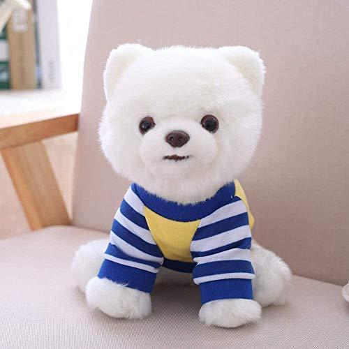 JIAL Entzückende gefüllte Tiere Teddy Hund weiß weiße Streifen blaues T-Shirt Pomeranian Kleid Tier Teddy Pet Spielzeug 25 cm Geschenk für kleine Kinder Chongxiang (Color : Default)