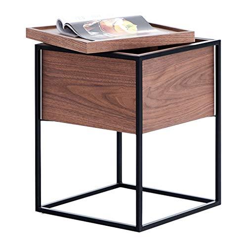 Table basse, côté rangement en fer forgé noyer table de thé canapé moderne coin petite table basse armoire de chevet armoire de rangement multifonction (Color : Brown, Size : 43 * 43 * 58cm)