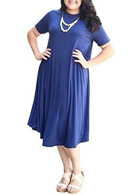 Yobecho Womens Short Sleeve Round Neck Loose Plain Casual Plus Size Long Maxi T-Shirt Dress