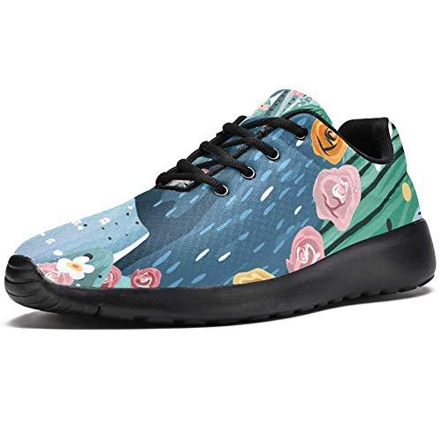 TIZORAX Laufschuhe für Damen, Pastell-Kakteen mit Blumen, modische Sneakers, Netzstoff, atmungsaktiv, Wandern, Tennisschuh, Mehrfarbig - mehrfarbig - Größe: 37 EU