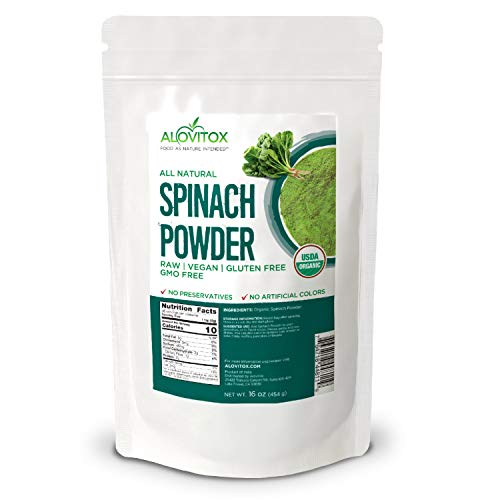 Alovitox, Organic Spinach Powder 16 Oz, All Natural, Non GMO, Gluten-Free, High Source of Fiber, and Vitamins Rich