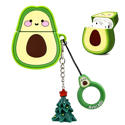 OOTSR Nette Schutzhülle Kompatibel für Apple Airpods 1 & 2 Ladetasche, weiche Silikonhülle von Avocado Für Airpods 1 2 Apple Kopfhörer mit Weihnachtsbaum Schlüsselbund (Avocado)
