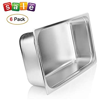 4  Deep Steam Table Pan Full Size,Kitma 14 Quart Stainless Steel Anti-Jam Standard Weight Hotel GN Food Pans - NSF (20.87 L x 12.8 W)- 6 Pack