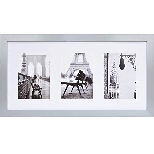 Muzilife 3er Bilderrahmen Galerie 25x51cm - Aufhängung Mehrfach Fotocollage 3 Ausschnitten für Bilder mit Passepartout 13x18cm (Grau)
