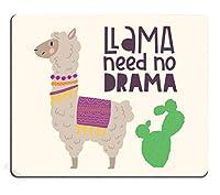 ゲーミングマウスパッド滑り止めが快適カスタム、サボテンとかわいいアルパカ手描きのレタリング引用付き漫画マウスパッド滑り止めが快適-ラマはドラマを必要としない