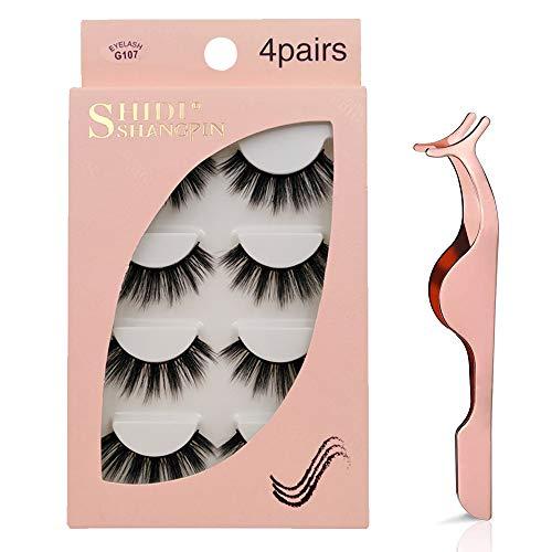 False Eyelashes, 3D Faux Mink False Lashes Reusable Long Thick Eyelashes for Makeup Eyelashes Extension, 4 Pairs Hand-made Dramatic Fake Eye Lashes with Eyelashes Clip (G107)