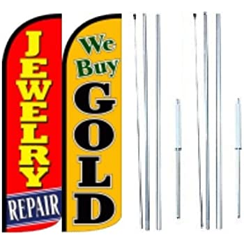 Pack of 3 Look Welcome King Swooper Feather Flag Sign Kit with Complete Hybrid Pole Set Computer Repair
