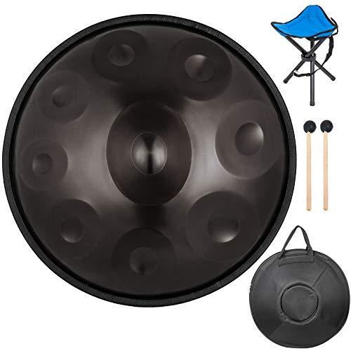 Jolipro Handtrommel mit 9 Noten aus Stahl, Drum Handpan Instrument mit Transporttasche Schwarz