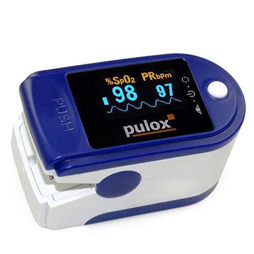 Pulsoximeter PULOX PO-200 Set zur Messung von Puls und Sauerstoffsättigung am Finger inkl. Hardcase, Silikonschutzhülle, Batterien und Trageband in Dunkelblau Oximeter mit drehbarem OLED Display