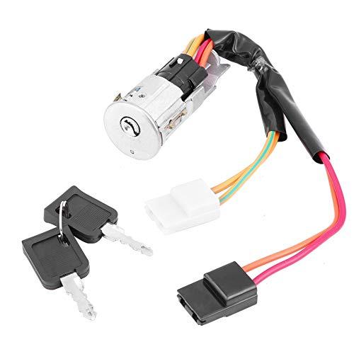 KIMISS Cerradura de encendido, llaves de interruptor de barril de encendido duraderas de material metálico para 7701038365