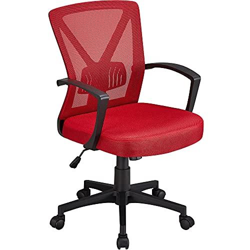 Yaheetech Chaise de Bureau Ergonomique Fauteuil Bureau Pivotant en Maille Respirant Support Lombaire Réglable Rouge