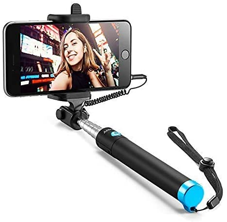 SHAPING HUB Selfie Stick for Mobile Phone for clicking Photos & Making Video with Attached AUX Cable | for iPhone and Android Mobile Phones ( Black)