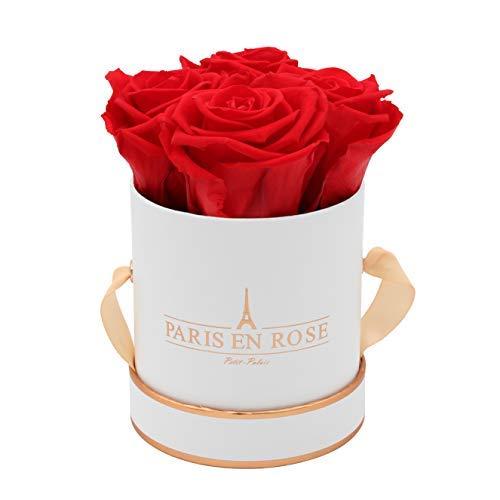 PARIS EN ROSE Rosenbox Petit Palais Bijou | 3 Jahre haltbar | Weiß-Roségold mit roten Infinity Rosen | Flowerbox mit 4 konservierten Blumen