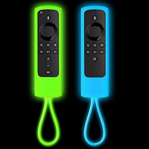 [2 Pack] Firestick Remote Cover,Replacement for FireStick Streaming Media Device | Firesticksticktv 4k+ | FireStick 4K | Firetvstick Lite | FireTVCube | (Sky Blue Glow & Green Glow)