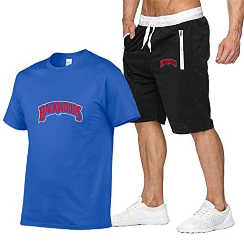 Conjunto de camisa y pantalones cortos para hombre Backwoods Casual Boys Backwoods Camisetas y pantalones deportivos Backwoods cigarros Tops H-ip-hop Tops El regalo más esperado, azul, XXL
