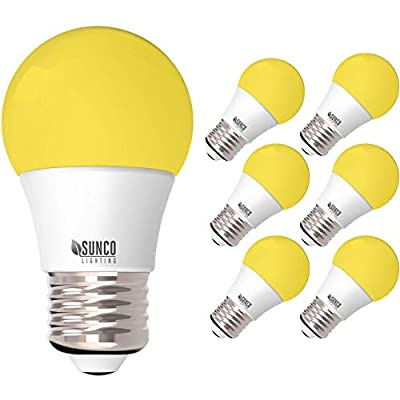 Sunco Lighting A15 LED Bulb,Yellow Bug Light, 8W, Dimmable, Bug Repellent/Bug Free, 2000K Amber Glow, Ideal for Outdoor Patio, Deck, Backyard, Porch, String Lights - 6 Pack