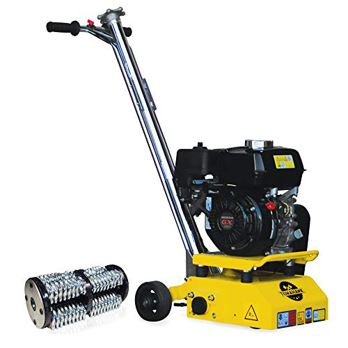 TOMAHAWK 8 in. Gas Concrete Scarifier Planer Grinder with 5.5 HP Honda Engine OSHA Compliant and Tungsten Carbide Teeth Blade Drum Kit