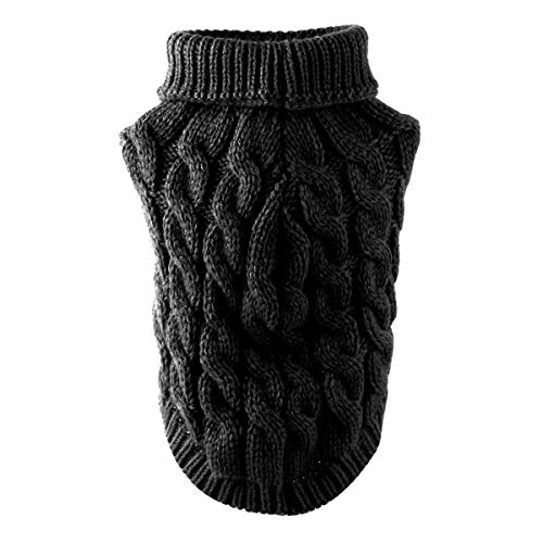 ROSEBEAR huisdier hond kleding mode coltrui breien trui breigoed bovenkleding, S, Zwart