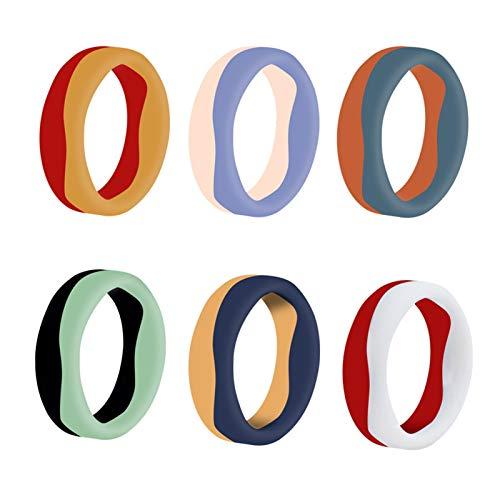 WANGYIYI Anillo de Bodas de Silicona de 5.7 mm Anillo de Costura de Dos Colores de Silicona Anillo de Deportes al Aire Libre Anillos de Pareja hipoalergénicos Masculinos y Femeninos (Size : Size 8)