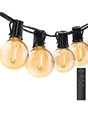 Light Chain Outdoor Dimmable, Bomcosy G40 30M Light Chain Bulbs with Remote Control, Brightness Adjustment, Waterproof Outdoor Fairy Lights for Garden, Terrace, Tree, Courtyard, House Party Decoration