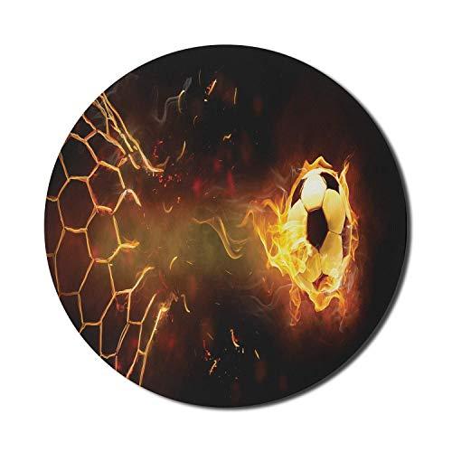 Sport-Mauspad für Computer, brennender Fußball, der das Netto-Ziel durchbricht, gewinnt das Sieg-Thema auf dunklem Hintergrund, rundes rutschfestes dickes Gummi-modernes Gaming-Mauspad, 8 'rund, gelb-