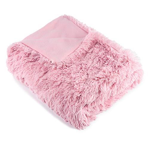 Naturer Kuscheldecke Rosa Plüschdecke 50x60inch PV Langhaar Decke Blanket Microfaser Kunstfell TV Decke Tagesdecke Wohndecke Klimaanlage Decke für Couch Bett Leicht Flauschig
