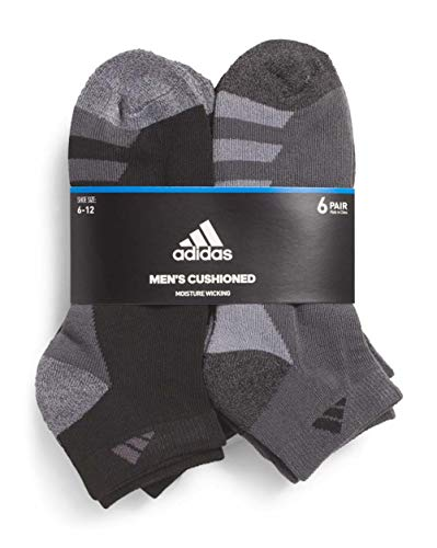 adidas Men's Athletic Low Cut Sock 6-Pack (Black/Charcoal/Heathered)