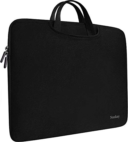 Naukay Laptop Sleeve Bag 15.6 Inch, Durable Slim Briefcase Handle Bag & with Two Extra Pockets,Notebook Computer Protective Case for Computer Notebook Ultrabook,Collapsible Carrying Handles (Black)