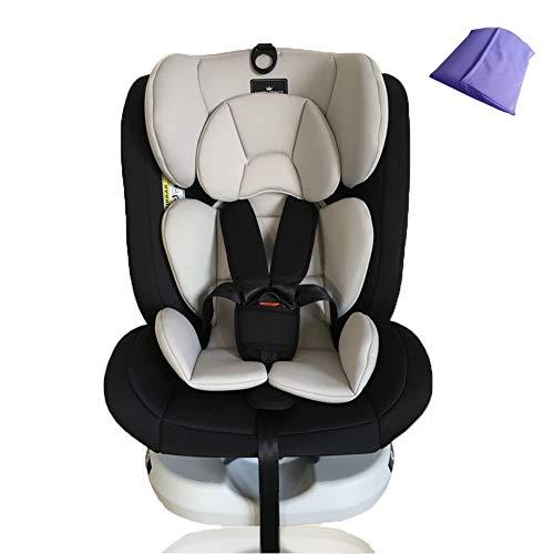 WWLONG Cómodo Asiento para automóvil para niños/niños, Asientos de Seguridad para niños orientados hacia atrás, Interfaz ISOFIX + Latch Asiento Elevador para automóvil, 0-12 años, Beige-WithoutISOF
