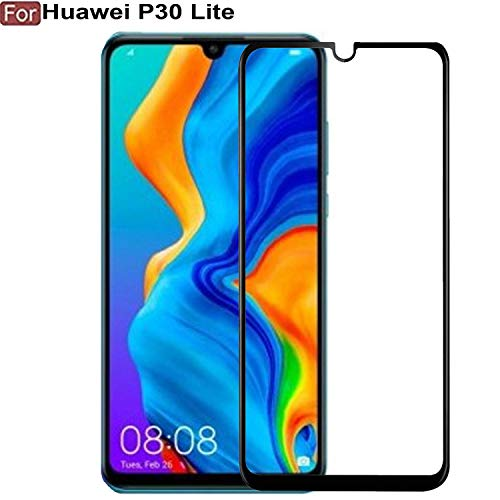 Frazil Full Glue, Full Coverage Edge-to-Edge 6D Tempered Glass Screen Protector for Huawei P30 Lite (Black)
