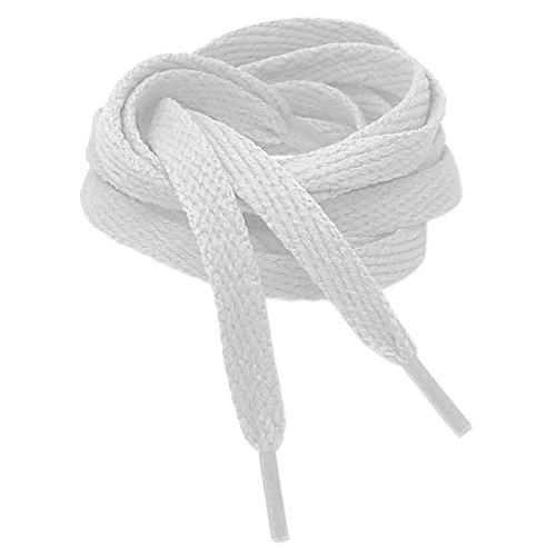 Kilter Flache Schnürsenkel für Sneaker und Sportschuhe - Weiß - 8mm X 120cm (1 Paar)