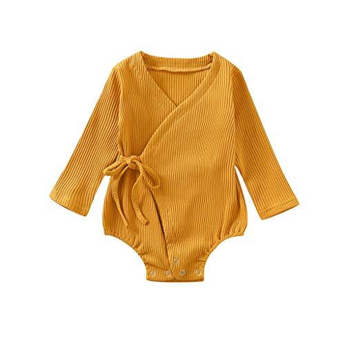 TUDUZ Conjuntos Beb Nia Manga Larga Slido Color Camisa Corazn Volantes Body Mono Impresin Kimono Pijama Disfraz (Amarillo.O, 70)
